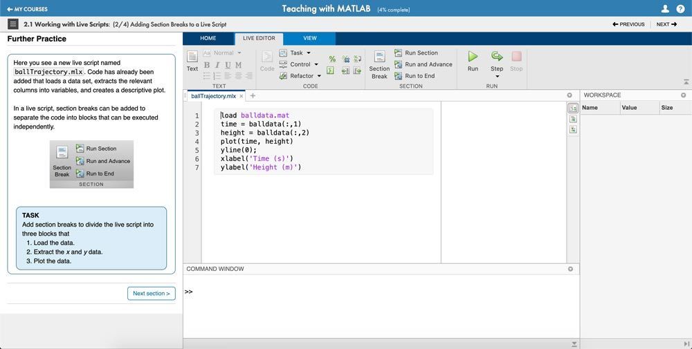 Teaching with MATLAB online course