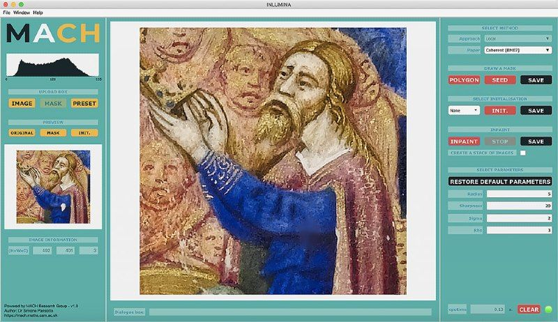Screenshot of software user interface showing part of a fresco undergoing color selection.