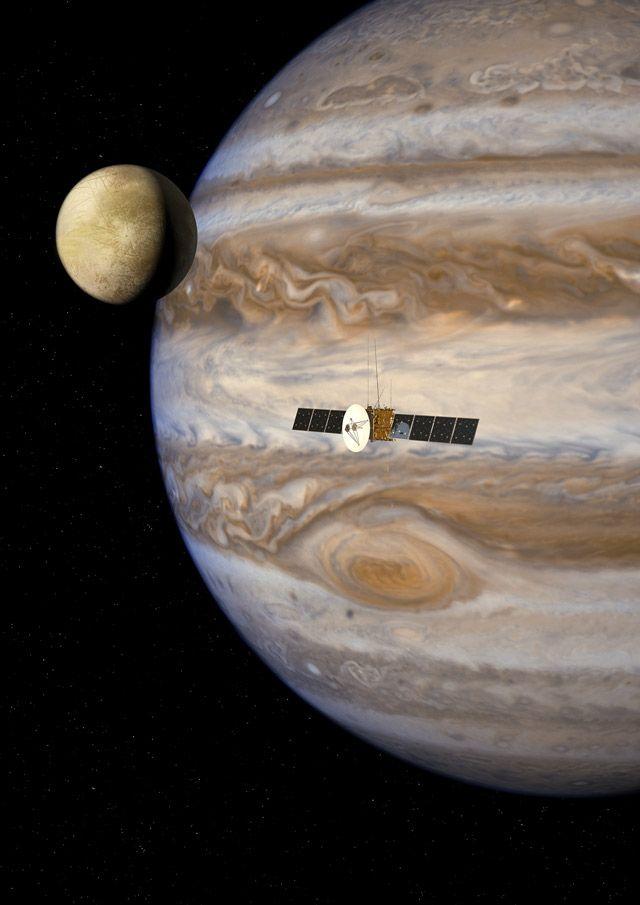 Rendering of JUICE in the Jovian system.