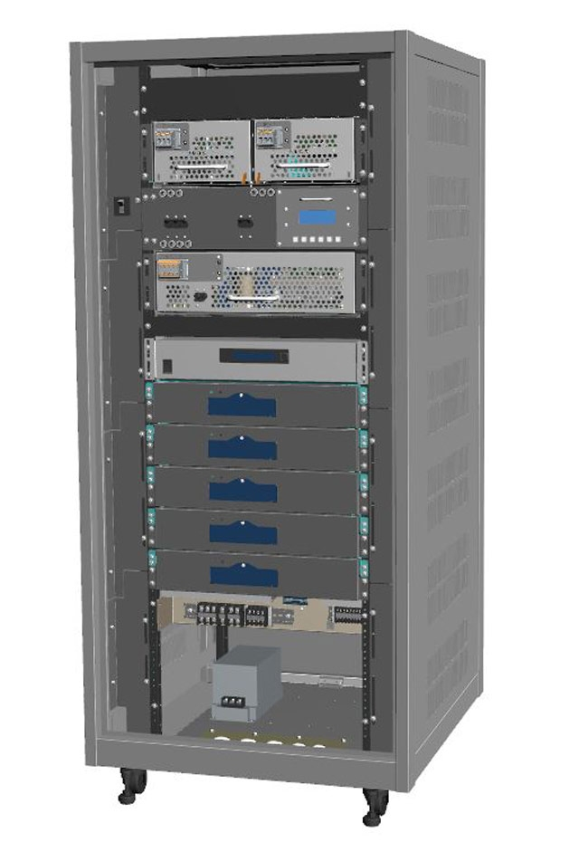 Murata flexible three-phase energy management system with lithium-ion battery.