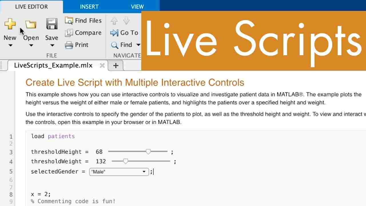 Learn how to create and use MATLAB scripts in the Live Editor.