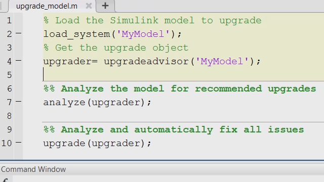 Automate the process of upgrading large model hierarchies in Simulink®.