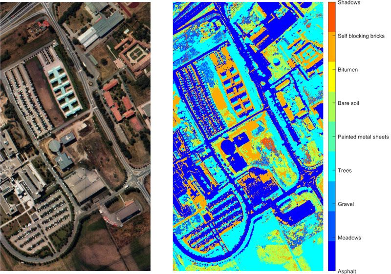 Using  satellite-based hyperspectral  data to identify different terrestrial regions, based on their material type, using maximum abundance classification.