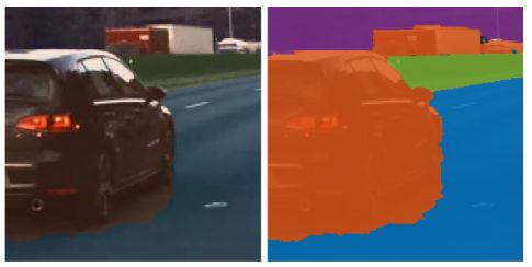 Using semantic segmentation to associate each pixel of the image with a class label (such as car, road, sky, pedestrian, or bike).
