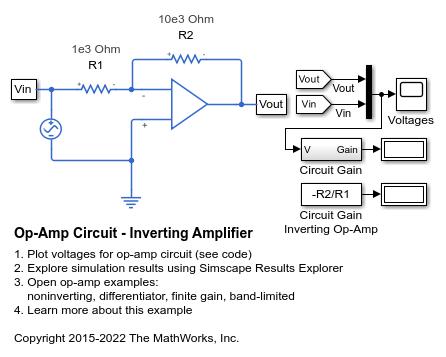 Op-Amp Circuit - Inverting Amplifier - MATLAB & Simulink