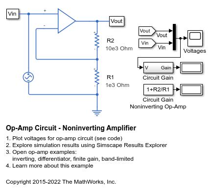 Op-Amp Circuit - Noninverting Amplifier - MATLAB & Simulink