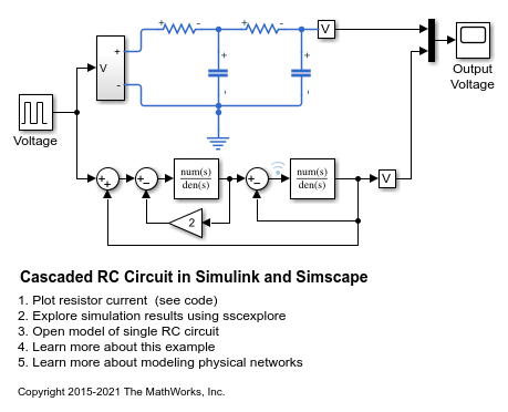 cascaded rc circuit in simulink and simscape matlab \u0026 simulink