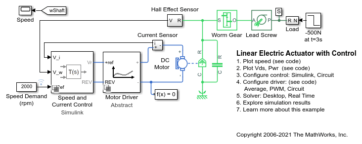 Linear Electric Actuator with Control - MATLAB & SimulinkMathWorks