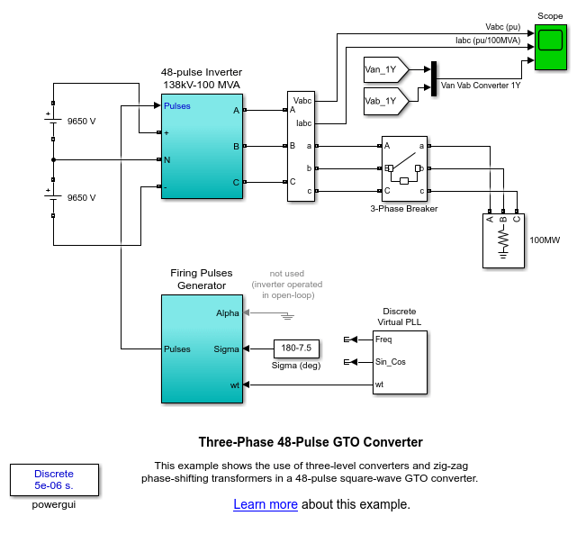 Three-Phase 48-Pulse GTO Converter - MATLAB & Simulink
