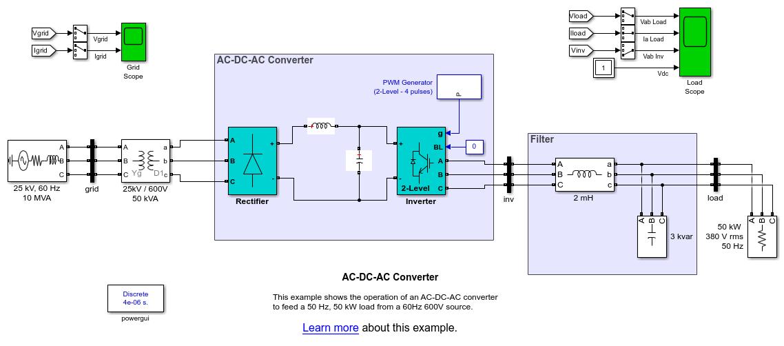 AC-DC-AC Converter - MATLAB & Simulink