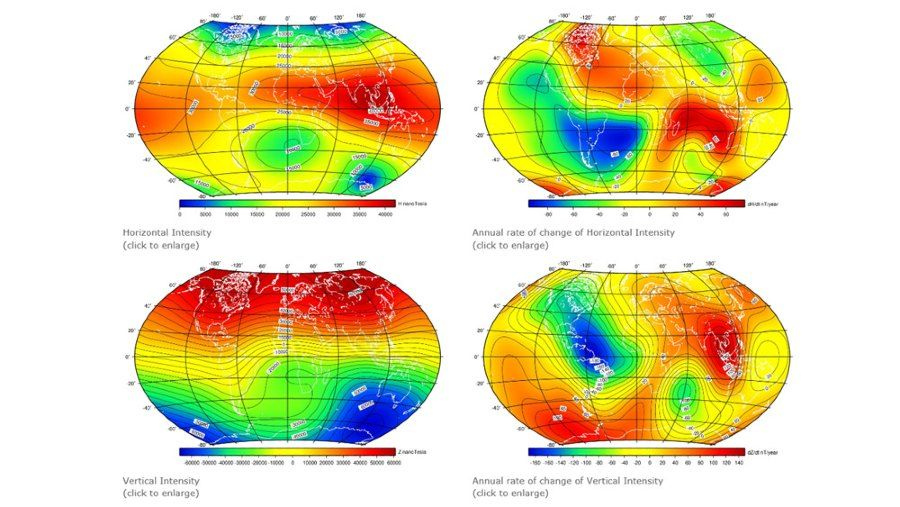 Earth's magnetic field intensities using the 13th generation of the International Geometric Reference Field.