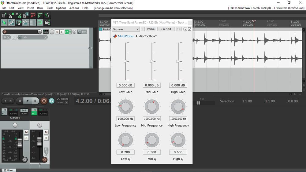 UI of an audio plugin generated with MATLAB, as seen while is it used inside REAPER, a well-known digital audio workstation. The UI includes various sliders and knobs arranged over a 3-by-3 grid.