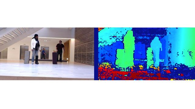 Scene of people in a lobby alongside an image of the relative depth of points in the scene.