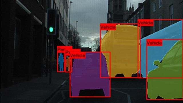 Detected instances of objects in a street scene with outlines created using instance segmentation.