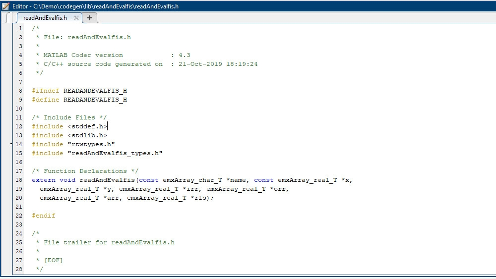 Sample code interface generated for loading and evaluating a FIS as a static/dynamic library.