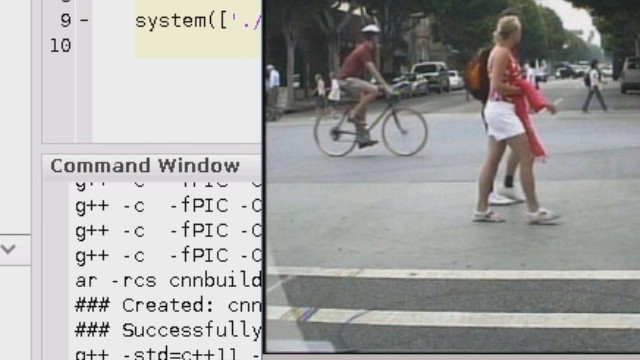 Generate code from a trained neural network in MATLAB for Intel processors and see how the network for pedestrian detection runs on an Intel Xeon E5 v3 processor using MKL-DNN library at about 30 fps.