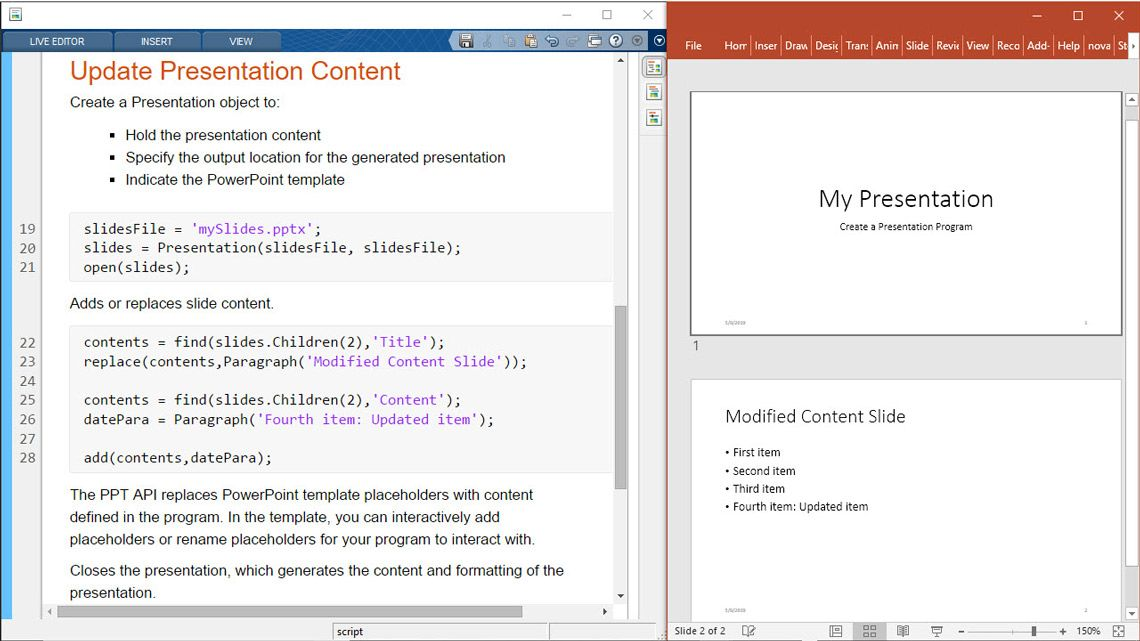 Update presentation content from MATLAB.