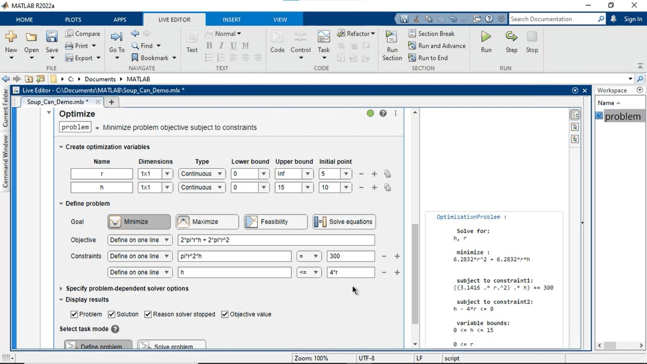 Interactively create and solve optimization problems with MATLAB, Optimization Toolbox, or Global Optimization Toolbox using a visual interface. Specify the objective and constraints, choose solvers, and set options.
