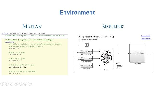 Reinforcement Learning Toolbox provides MATLAB functions and Simulink blocks for training policies using reinforcement learning algorithms including DQN, A2C, and DDPG.