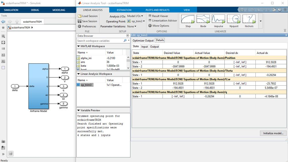 Model Linearizer app showing trimming specifications for a Simulink model.