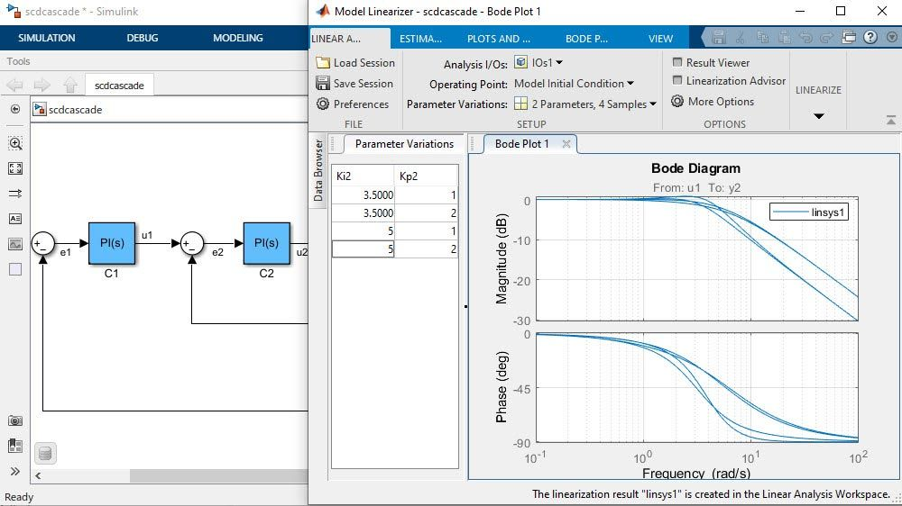 Model Linearizer app showing plots of frequency responses of Simulink models with varying parameters.