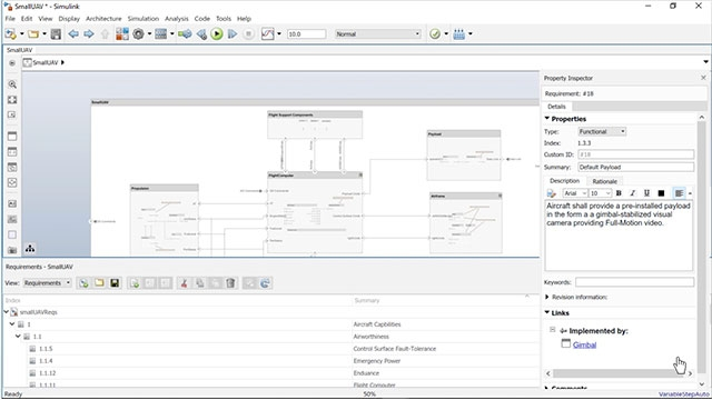 Link, trace, and visualize requirements to architectural elements in System Composer.