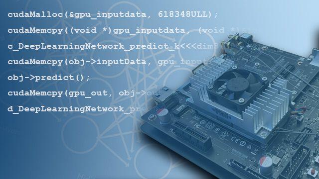Generate CUDA code from MATLAB code for NVIDIA GPUs.