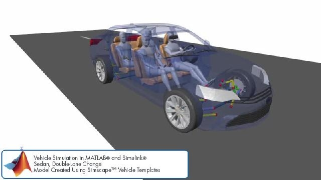 See an animation showing a double lane change simulation with Simscape.