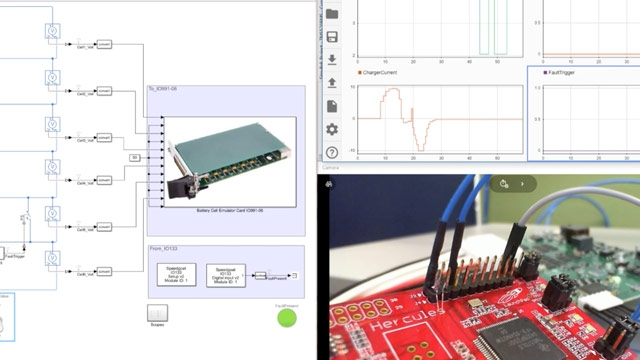 This video demonstrates how to use Simulink, Simscape, Simulink Real-Time, and Speedgoat real-timesystemsto performhardware-in-the-loop(HIL)simulationto validate and test abattery management system.