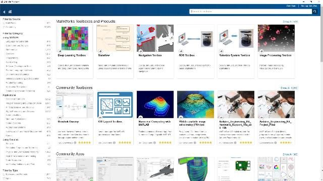 Find, manage, and install MATLAB add-ons using the Add-On Explorer in MATLAB. Add-ons include toolboxes, apps, functions, models, and support packages authored by MathWorks staff as well as members of the community.