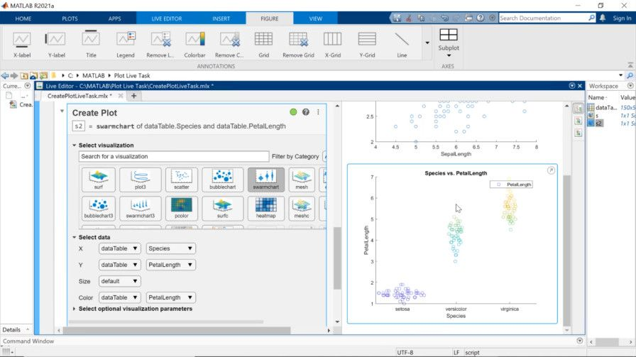 Quickly create plots and visualizations in MATLAB without having to write any code. Pick from suggestions that update based on your selected data, or use the Create Plot Live Editor task for an interactive, guided experience.