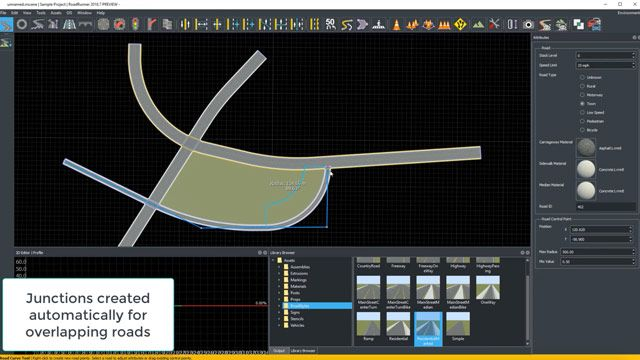Learn about different features in RoadRunner including road and 3D scene modeling, sign creation, and export to external simulators for automated driving simulation.