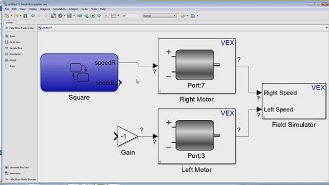 Learn to  perform dead reckoning tasks on the VEX robot using the Temporal Logic function in Stateflow.