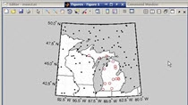 This short video uses the Mapping Toolbox to load in the state boundaries in a given area and display them on a special map axis. Random points are also generated and filtered based on their location.