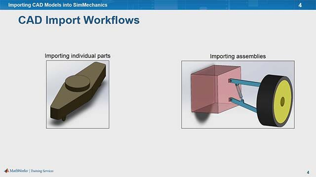 Learn to import CAD models into SimMechanics for dynamic simulations. You'll discover how to visualize bodies with CAD geometries, export models from CAD software, and import CAD models into SimMechanics.