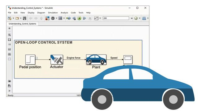 Watch a demonstration of a car to learn how to use Simulink to simulate open-loop systems, closed-loop systems, and disturbance rejection .