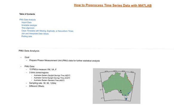 This video shows how to preprocess time series data in MATLAB using a PMU data analysis example. In this example data is imported using Import Tool and preprocessing is shown using the timetable datatype in MATLAB.